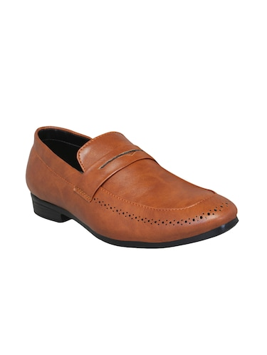 brown leatherette slipons - 16158018 - Standard Image - 1