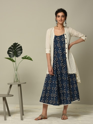 blue geometrical printed layered ethnic dress - 16167240 - Standard Image - 1