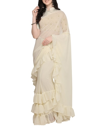 Solid ruffled saree with blouse - 16169311 - Standard Image - 1