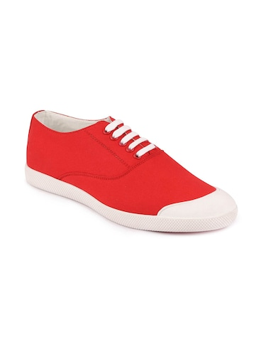red canvas lace up sneakers - 16187850 - Standard Image - 1