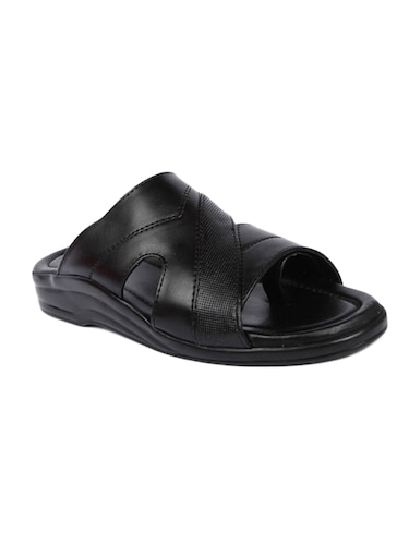black leatherette slip on slippers - 16191149 - Standard Image - 1