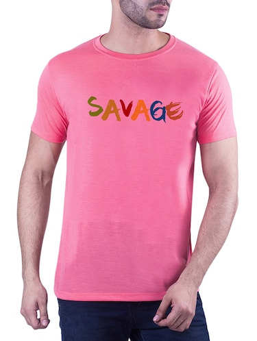 pink typographic chest print tshirt - 16193946 - Standard Image - 1