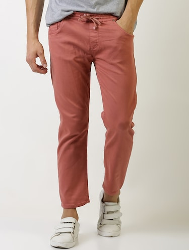 red solid plain jeans - 16196678 - Standard Image - 1