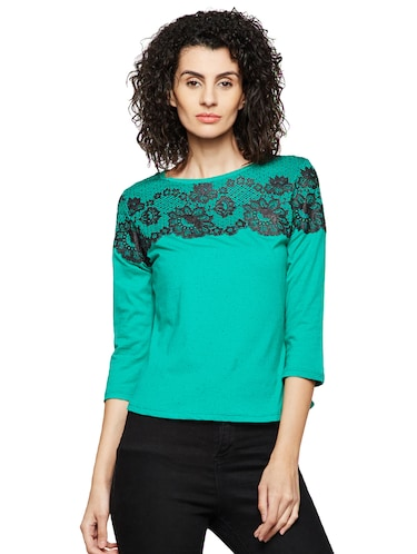 lace detailed round neck top - 16198418 - Standard Image - 1