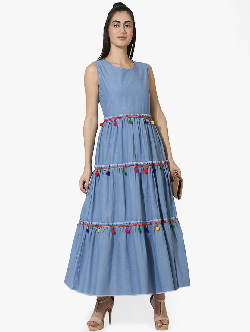 Buy Pom Pom Lace Tiered Maxi Dress For Women From Akimia For