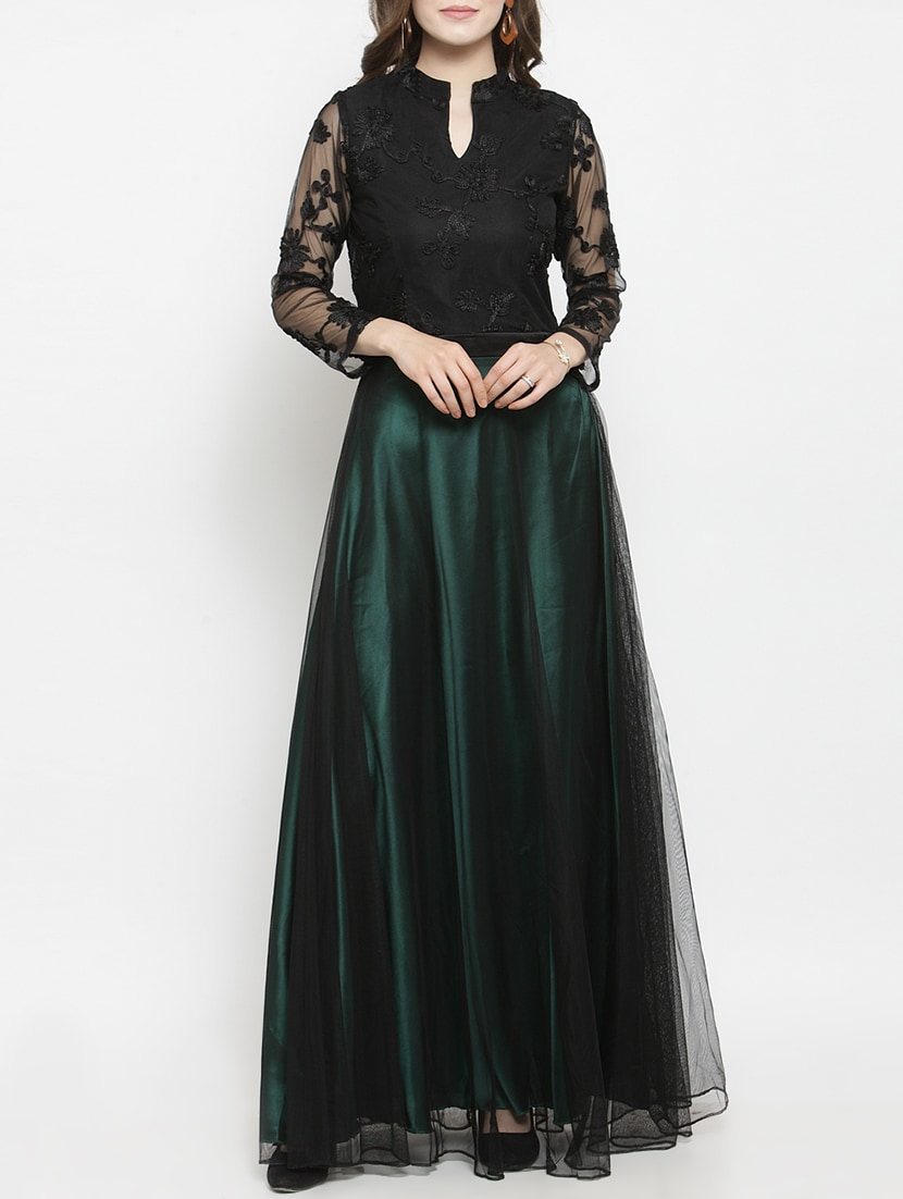 9135211d9587 Buy Mandarin Neck Embroidered Gown for Women from Just Wow for ...
