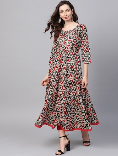 Geometric print flared kurta with pant set - 16215829 - Standard Image - 1