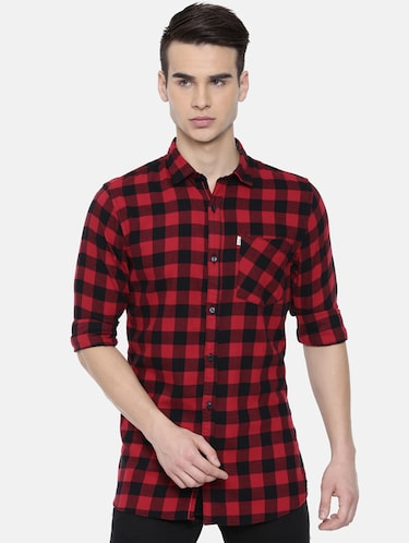 red checkered casual shirt - 16220786 - Standard Image - 1