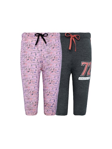 pink and black cotton three fourths shorts - 16227372 - Standard Image - 1