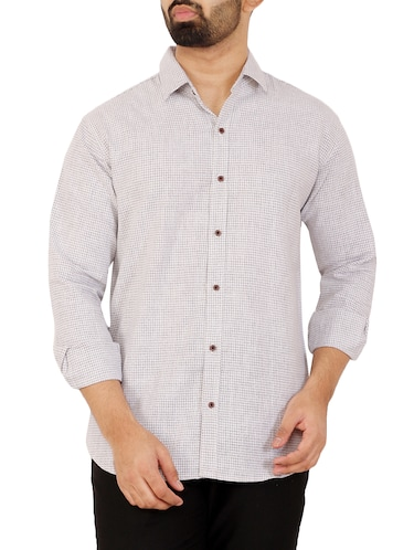 grey checkered casual shirt - 16238259 - Standard Image - 1