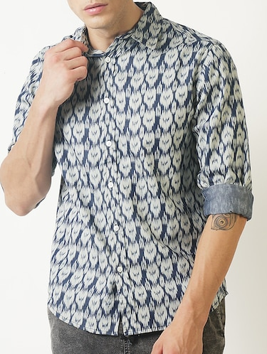 blue printed casual shirt - 16265208 - Standard Image - 1