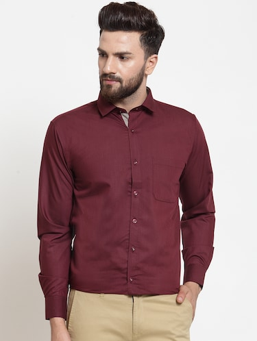 red solid formal shirt - 16274374 - Standard Image - 1