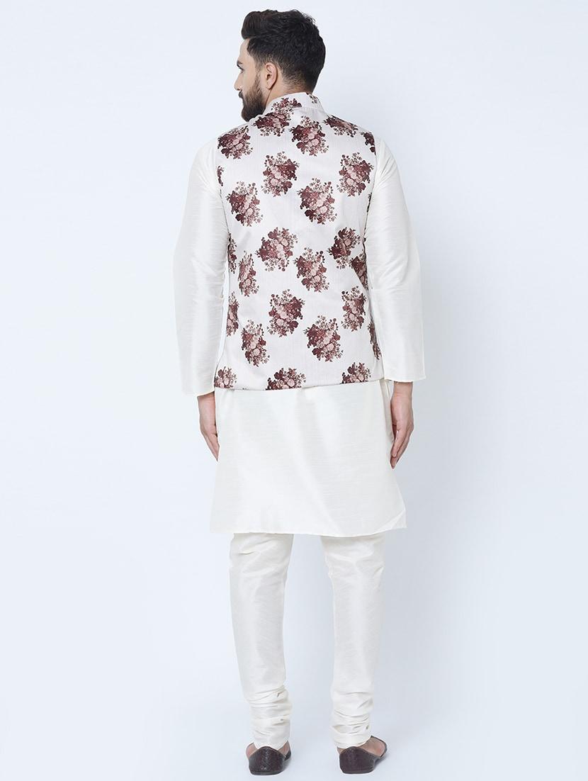 Details about  /Royal Kurta White Silk Blend Kurta Pyjama Set-q3p
