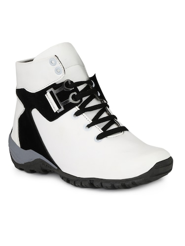 White Leatherette Low Ankle Boots