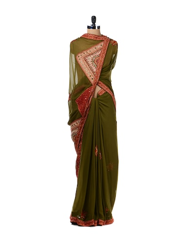 Buy Olive Green Kutch Embroidery Saree By Aas Online Shopping For
