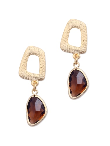 Elegant Gold Brown Stone Earrings