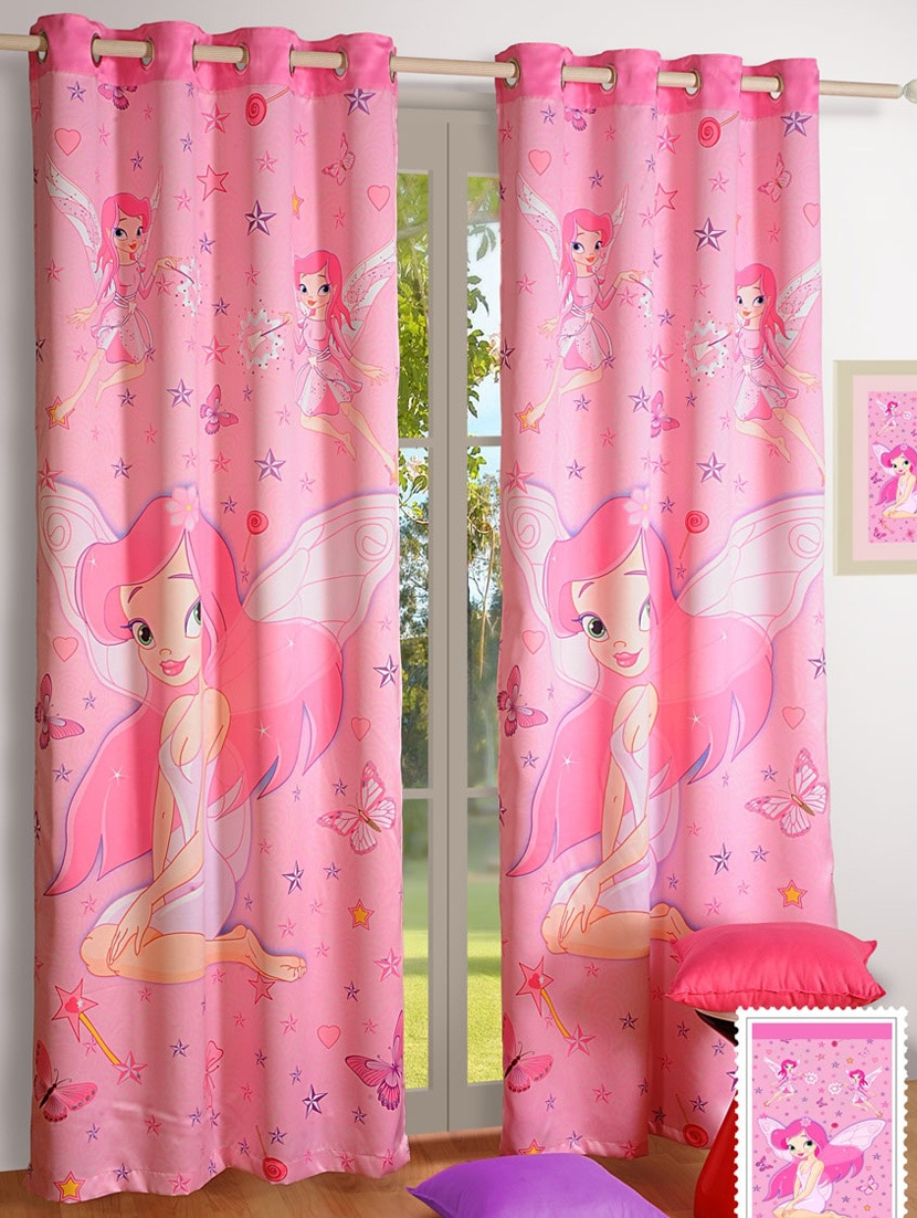 Buy Cartoon Print Pink Curtain Set By Swayam