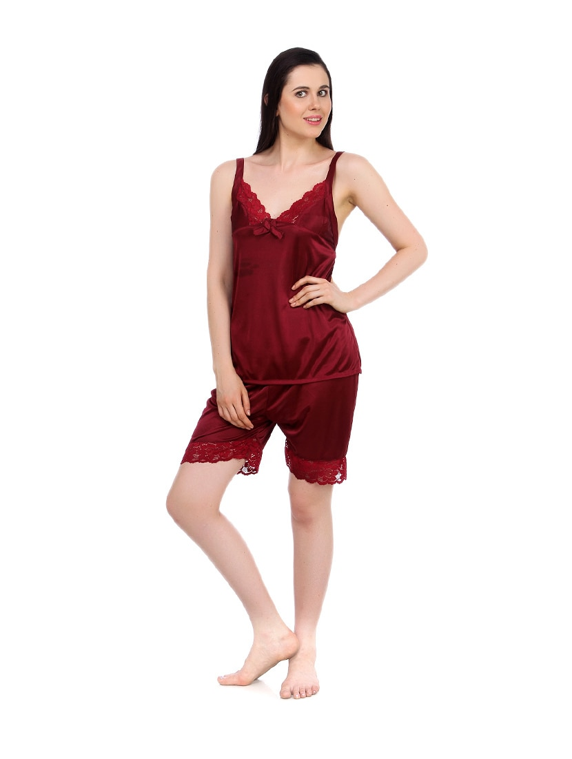 7ba9cf8234c2 Buy Maroon Satin Pajama Set for Women from Fasense for ₹529 at 47 ...
