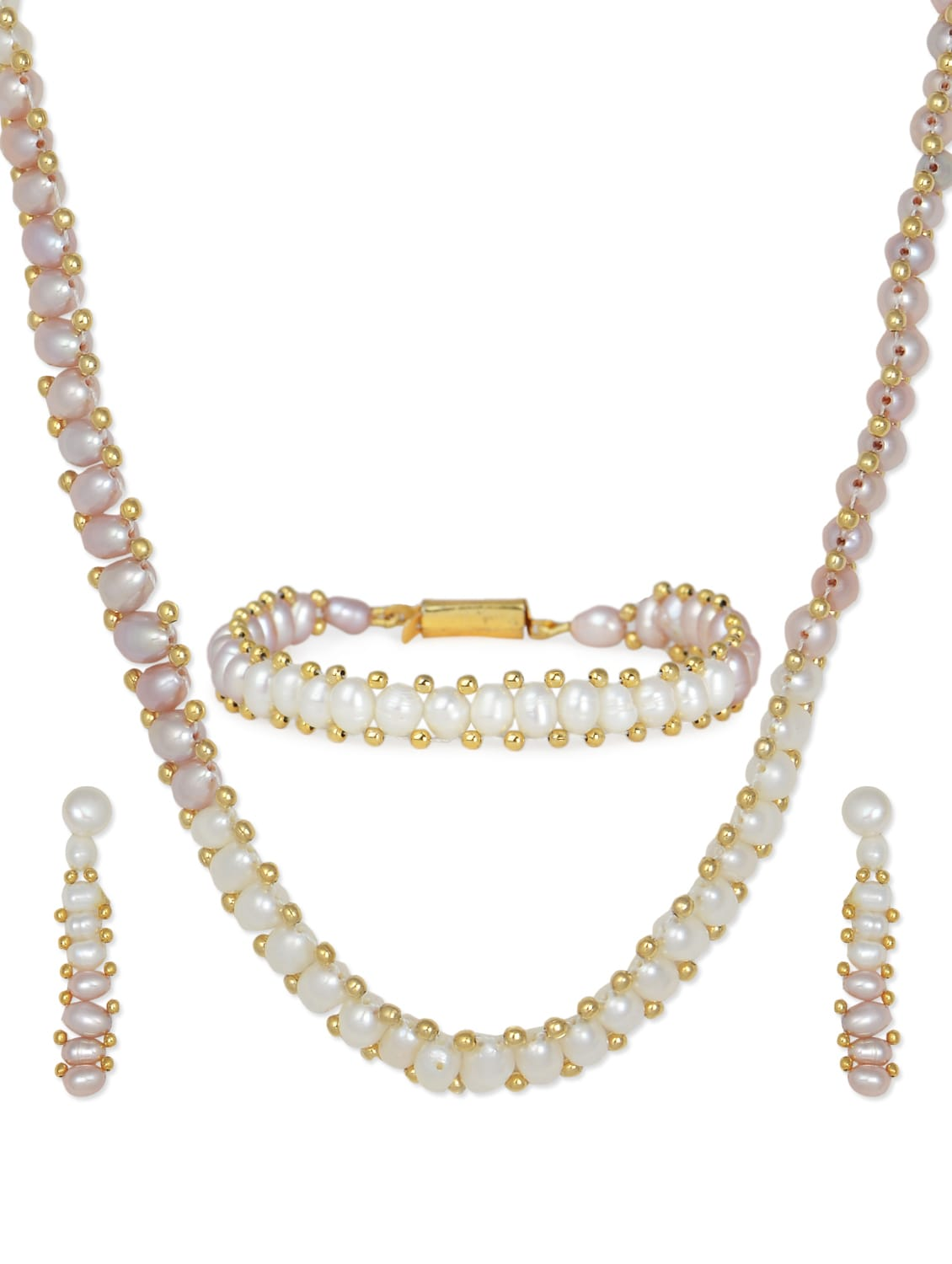 Buy online Set Of Elegant White Pearl Necklace Earrings And ...