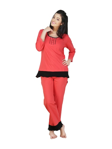 f8b66f4281d Buy Coral And Black Night T-shirt And Pajama Set by Nite Flite ...