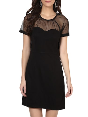 Buy Plain Black Dress With Transparent Neck And Sleeves By Besiva