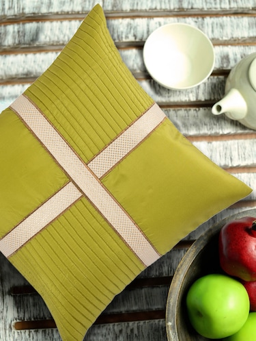 Lime Green Cushion cover with criss cross brocade patti - 907739 - Standard Image - 1
