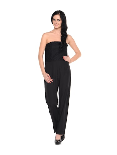 a7cd3fd13e4 Buy Solid Black Strapless Polyester Jumpsuit by Miss Chase - Online ...