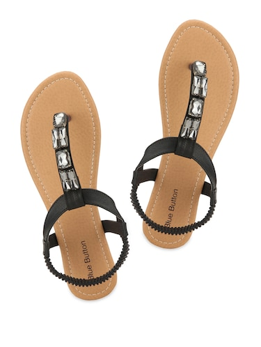 84828aaa7d5a Buy Black Embellished Sandals for Women from Blue Button for ₹2200 ...