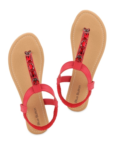 53159a54277d Buy Red Embellished Sandals by Blue Button - Online shopping for ...
