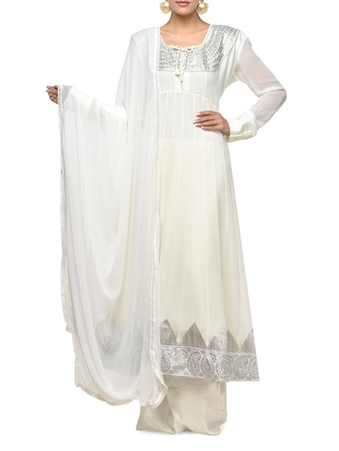 28d5d50ca45 Buy Beautiful White Salwar Suit With Silver Embroidery for Women ...