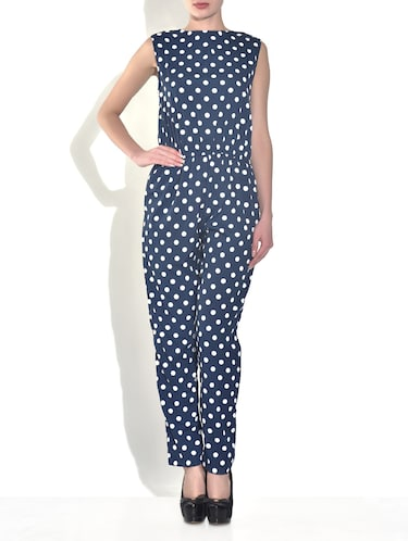 76ec02d6682 Buy Navy Blue Poly Crepe Polka Dots Jumpsuit for Women from ...