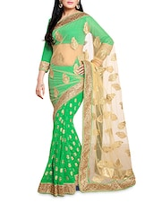 Green And Beige Floral Embroidered Saree - By