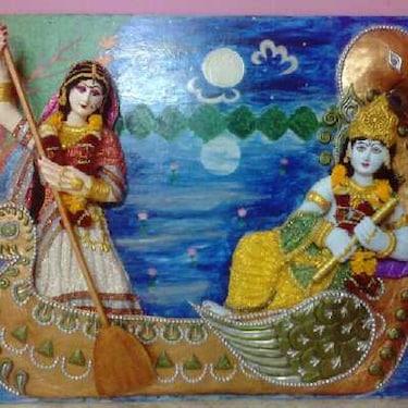 Radha krishna 3d clay painting