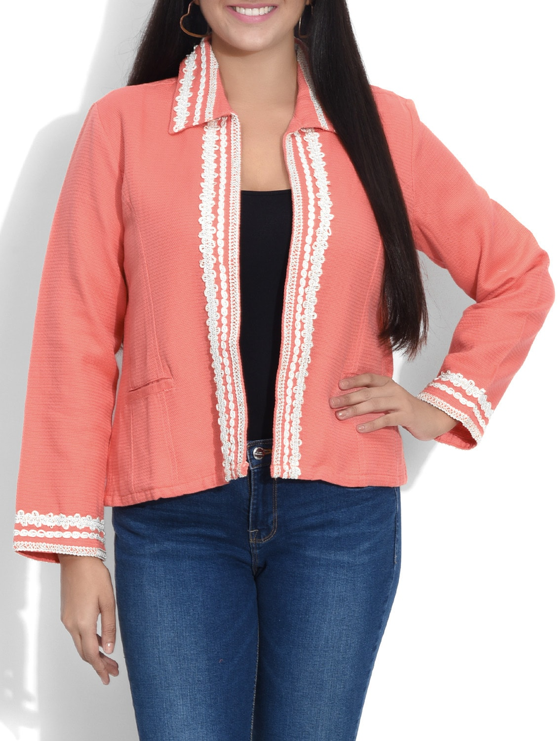 e2e265c796b Buy Peach Laced Cotton Jacket by Entease - Online shopping for ...