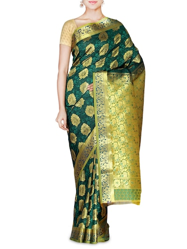 Dark green Art kanjivaram silk saree - 9600604 - Standard Image - 1