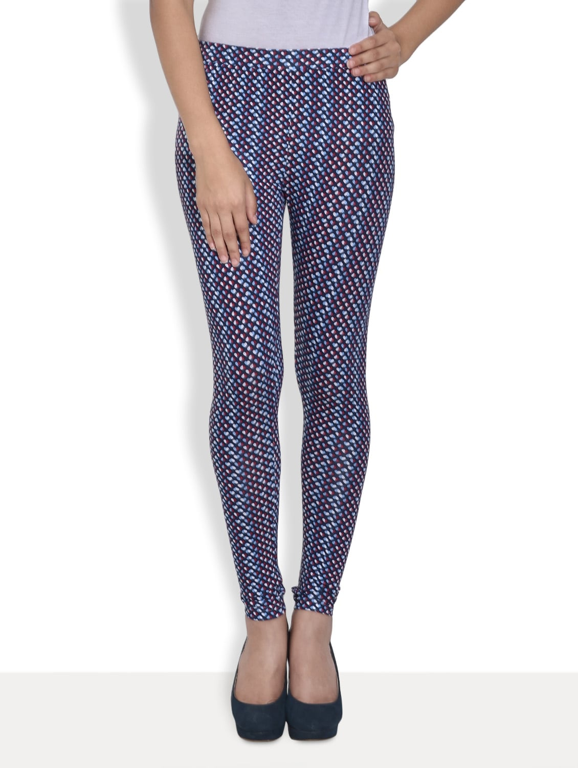 166bbd7f07d Buy Navy Blue And White Printed Leggings for Women from Sera for ...