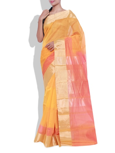 Buy Mango Yellow Cotton Silk Saree for Women from Pothys for