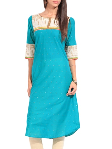 fc42a7df76c Buy Sky Blue Printed And Jacquard Cotton Kurta by W Store - Online ...