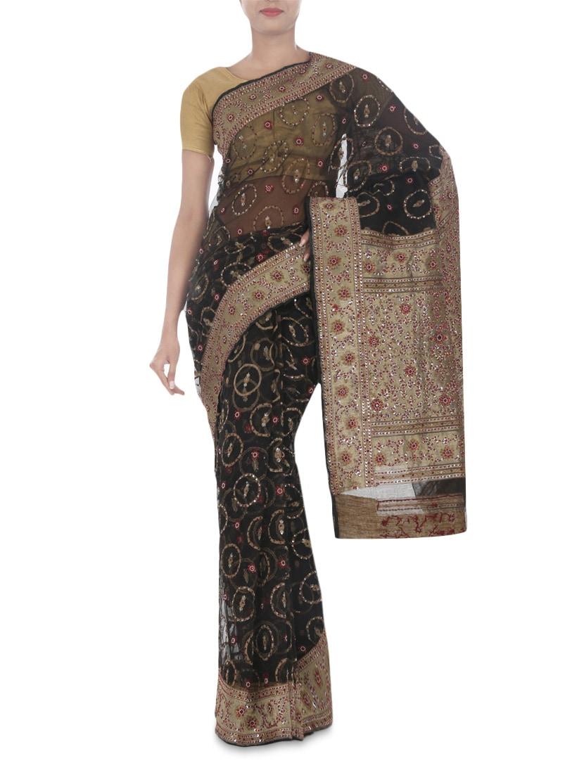 a0594be07a Banarasi Black Colour Pure Silk Net Handloom Saree