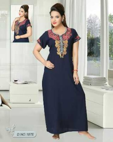 6c3c0d4038 Buy Navy Blue Nighty Cotton Embroidered Night Gown Daily Wear by ...