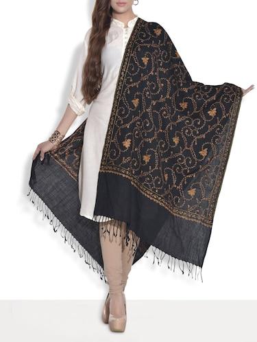 257bc00835 Black Kashmiri Embroidered Semi Pashmina Shawl