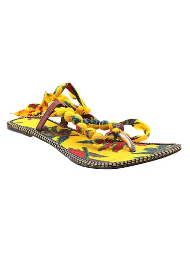 c8e4ecec5 Buy Yellow Fabric Sandals by Jaipur Fab - Online shopping for ...