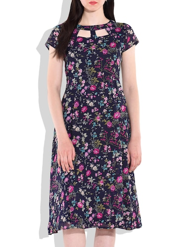 f67e94a861ba Buy Navy Blue Floral Midi Dress for Women from Magnetic Designs for ...