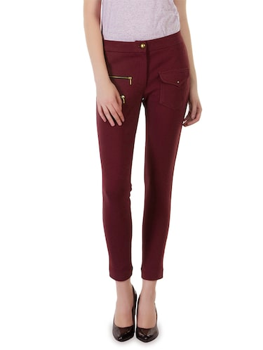 72f5c64f6fa1e Buy Solid Maroon Cotton Lycra Jeggings for Women from Rider Republic ...