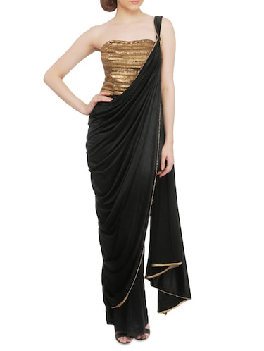 eb8374f7d2 Buy Black Embroidered And Embellished Off-shoulder Saree Style Gown ...