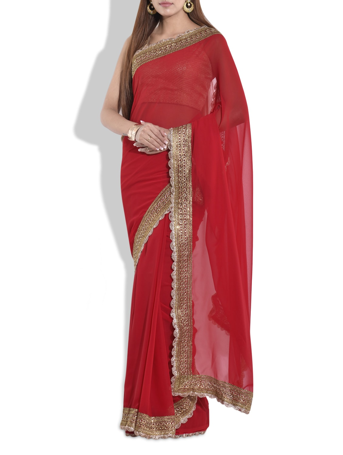 Buy Red Saree With Gold Lace Border for Women from Ethnic ...