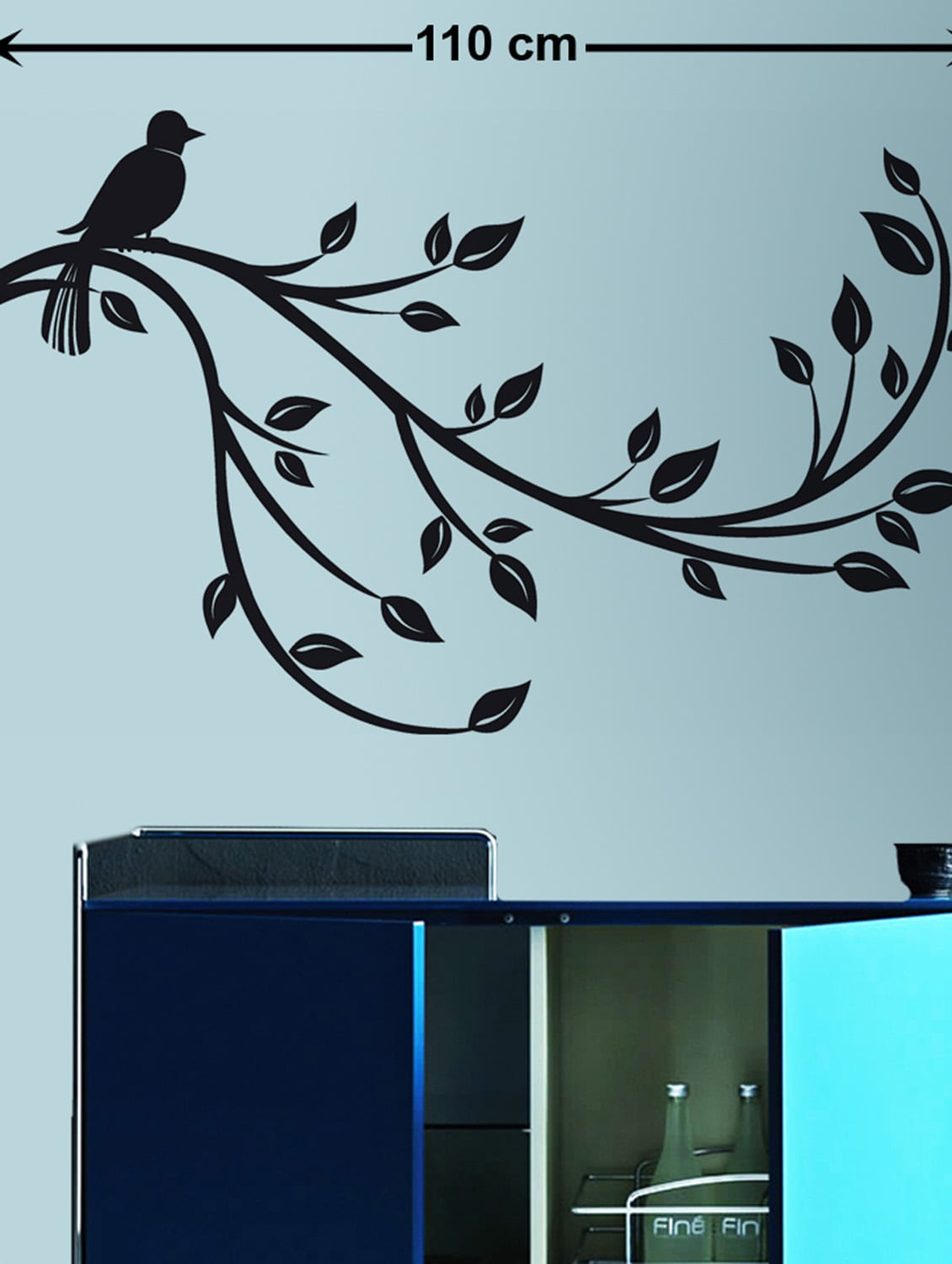 3e5fb285473 ... Wall Decals Slender Branch with a Sparrow Black - 9725180 - Zoom Image  - 1