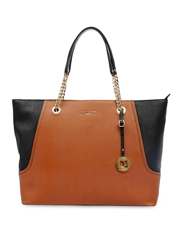 aeea7590c00c Buy Tan And Black Leather Tote by Da Milano - Online shopping for ...