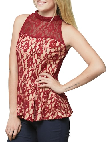 ae25d76c23bff Buy Mock Neck Floral Lace Peplum Top by Miss Chase - Online shopping ...