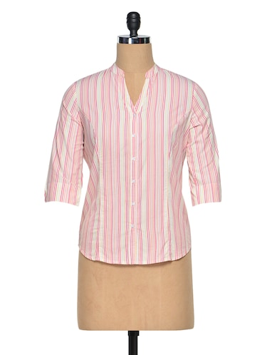 034cb49e88 Buy Pink & White Cotton Striped Mandarin Collar Shirt for Women from ...
